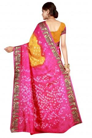 Rust Rani & Rust Cotton Silk Bandhani Saree