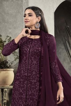 Purple Heavy Faux Georgette Salwar Kameez