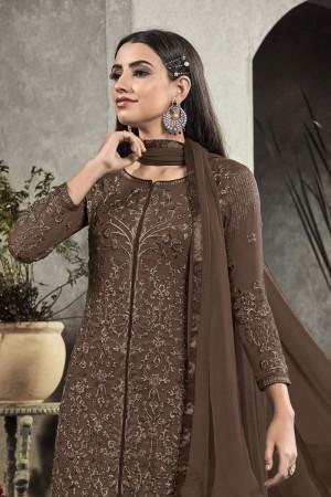 Brown Heavy Faux Georgette Salwar Kameez