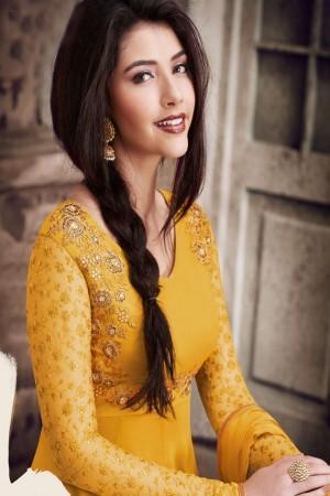 Yellow Heavy Faux Georgette Salwar Kameez
