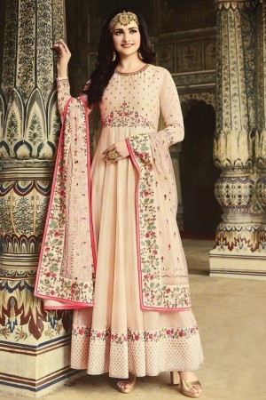 Light Peach Heavy Dola Silk Salwar Kameez