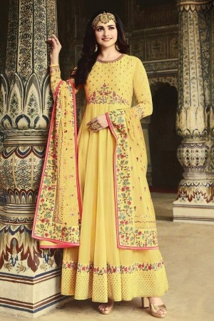 Yellow Heavy Dola Silk Salwar Kameez