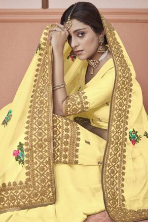 Yellow Heavy  Dola Silk Salwar Kameez