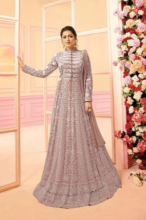 Dusty Pink Heavy Butterfly Net Anarkali Suit