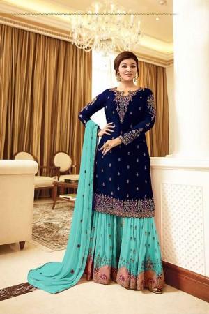 Dark Blue Georgette Sharara Suit