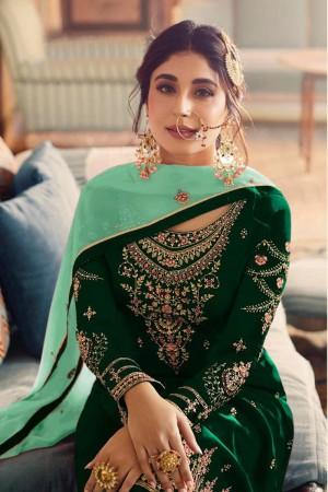 Green Heavy Faux Georgette Sharara Suit