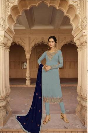 Light Blue Heavy Faux Georgette Salwar Kameez