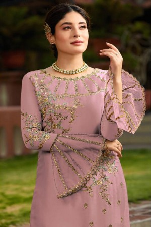 Light Pink Heavy Faux Georgette Churidar Suit