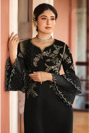 Black Heavy Rangoli Silk Salwar Kameez