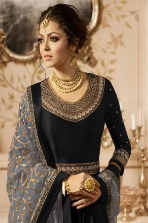 Black Heavy  Linnen Satin Anarkali Suit