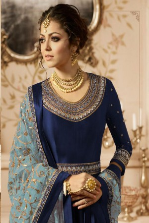 Navy Blue Heavy  Linnen Satin Anarkali Suit