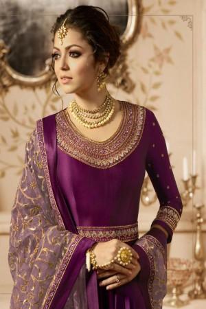 Purple Heavy  Linnen Satin Anarkali Suit