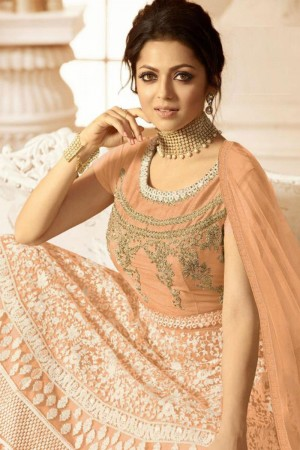 Peach Heavy Butterfly Net  Anarkali Suit