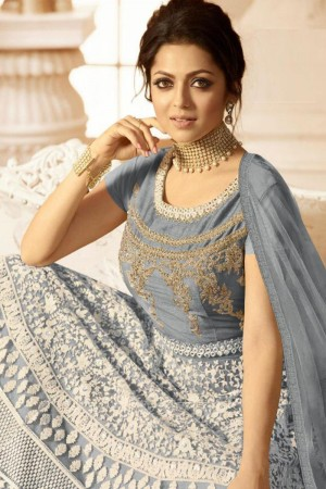 Grey Heavy Butterfly Net  Anarkali Suit