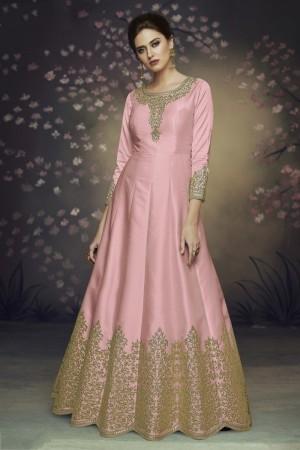 Baby Pink Heavy  Dola Silk Salwar Kameez