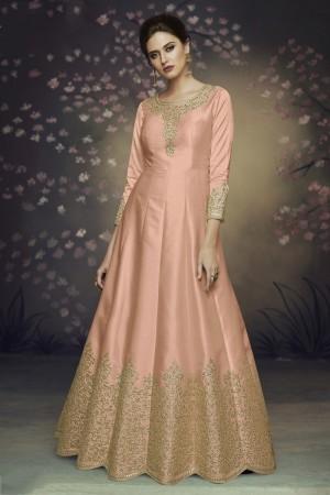 Peach Heavy  Dola Silk Salwar Kameez