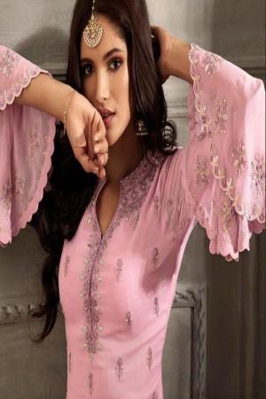 Baby Pink Heavy Faux Georgette Plaazo Suit