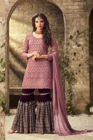 Pink Georgette Sharara Suit