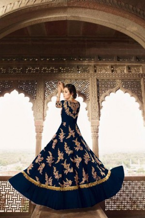 Navy Blue Butterfly Net Anarkali Suit