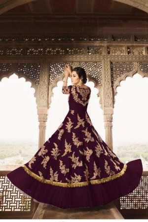 Magenta Butterfly Net Anarkali Suit