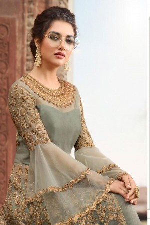 Mehendi Butterfly Net Anarkali Suit