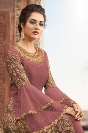 Dusty Pink Butterfly Net Anarkali Suit