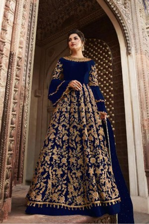 Dark Blue Butterfly Net Anarkali Suit
