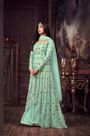 Sky Blue Net Churidar Suit