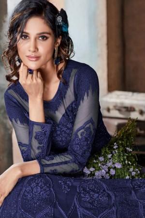 Blue Heavy Net Anarkali Suit