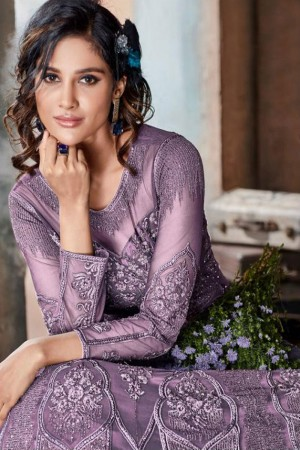 Lavender Heavy Net Anarkali Suit