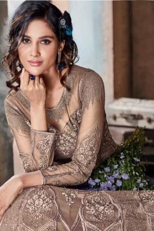 Light Brown Heavy Net Anarkali Suit