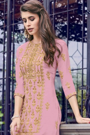 Light Pink Heavy Faux Georgette Salwar Kameez