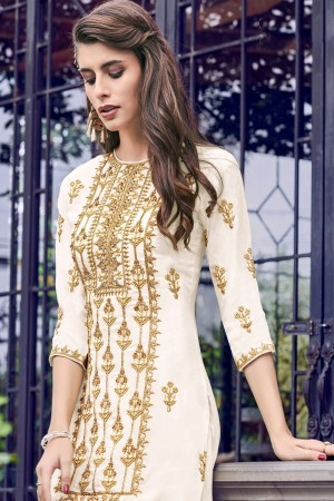 Off White Heavy Faux Georgette Salwar Kameez