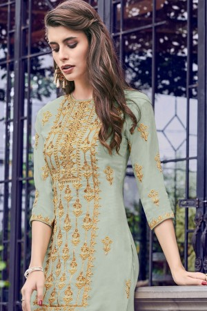 Light Mehendi Heavy Faux Georgette Salwar Kameez