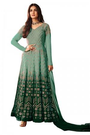 Green & Pista Georgette Anarkali Suit