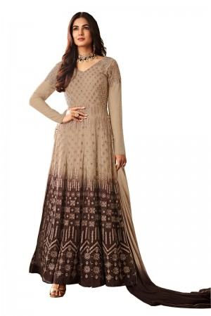 Brown & Chiku Georgette Anarkali Suit
