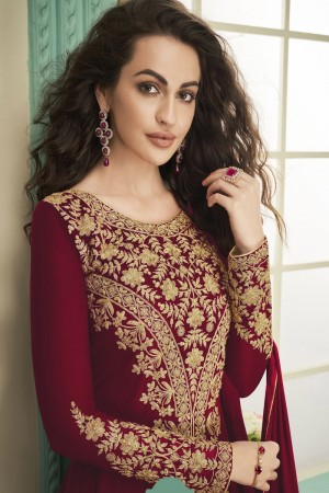 Red Heavy Faux Georgette Salwar Kameez