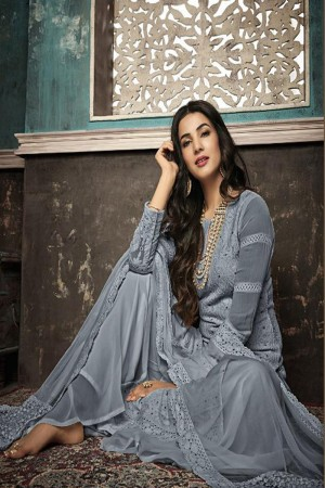 Grey Heavy Faux Georgette Plaazo Suit