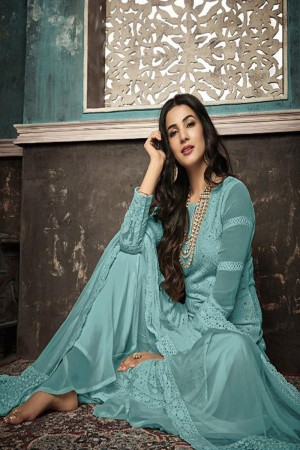 Light Teal Heavy Faux Georgette Plaazo Suit
