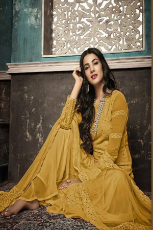 Yellow Heavy Faux Georgette Plaazo Suit