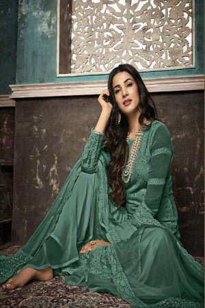 Light Green Heavy Faux Georgette Plaazo Suit