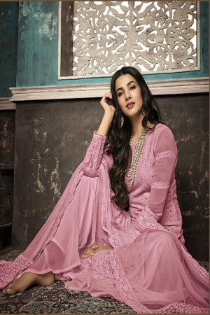 Light Pink Heavy Faux Georgette Plaazo Suit