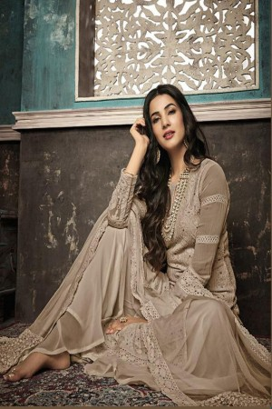 Light Brown Heavy Faux Georgette Plaazo Suit