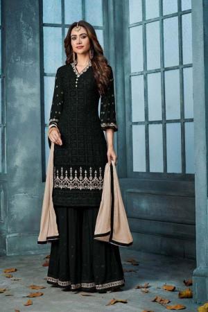 Black Heavy Faux Georgette Sharara Suit