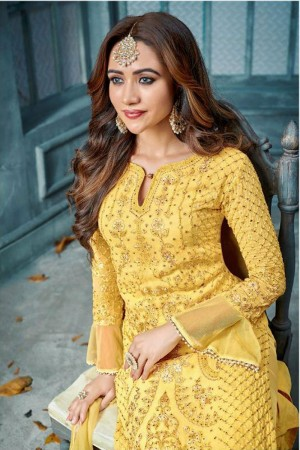 Yellow Heavy Faux Georgette Churidar Suit