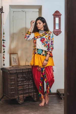 Yellow & White Khadi Cotton Kediya with Tulip Pant