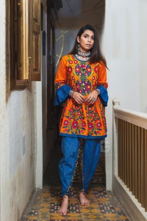 Orange Khadi Cotton Kediya with Tulip Pant
