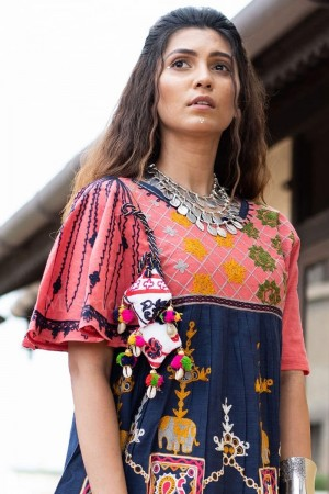 Light Pink & Blue Khadi Cotton Kediya with Tulip Pant