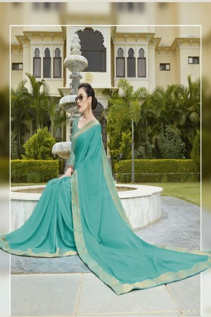 Sky Blue Pure Chiffon Saree with Blouse