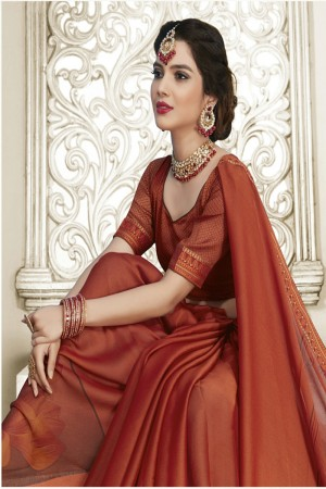 Orange Moss Chiffon Saree with Blouse